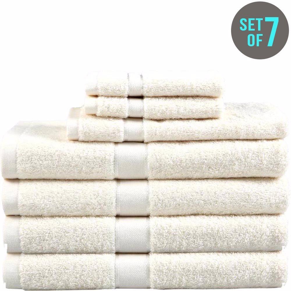 7 Piece Egyptian Cotton Towel Set Cream $59.00