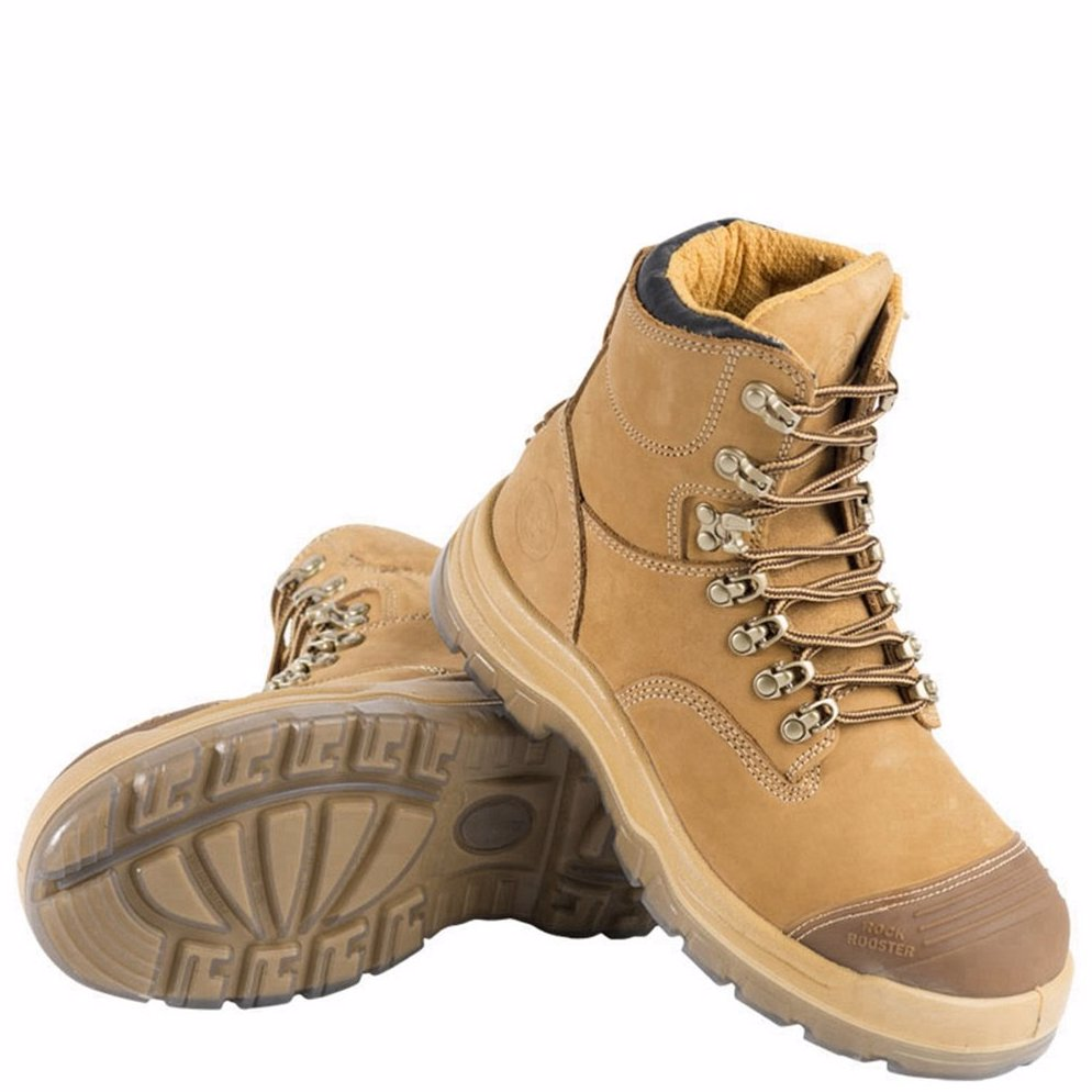 59c3108bfe0 Rockrooster Leather Soft Comfort Steel Toe Work Safety Hiking Boots Shoes