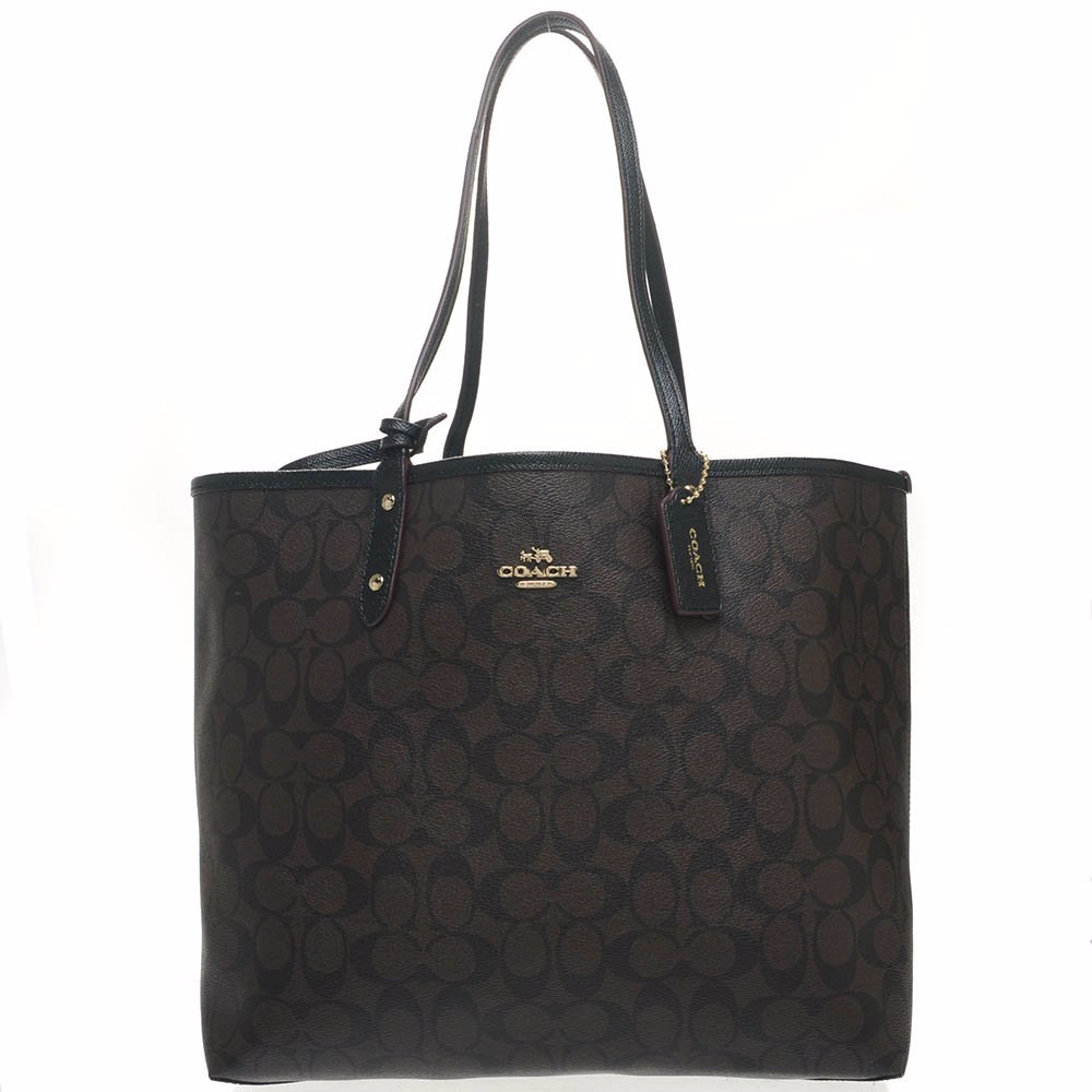 4708ff623d9 Signature Monogram Printed Leather Tote-Coach-668014-Brown-Black