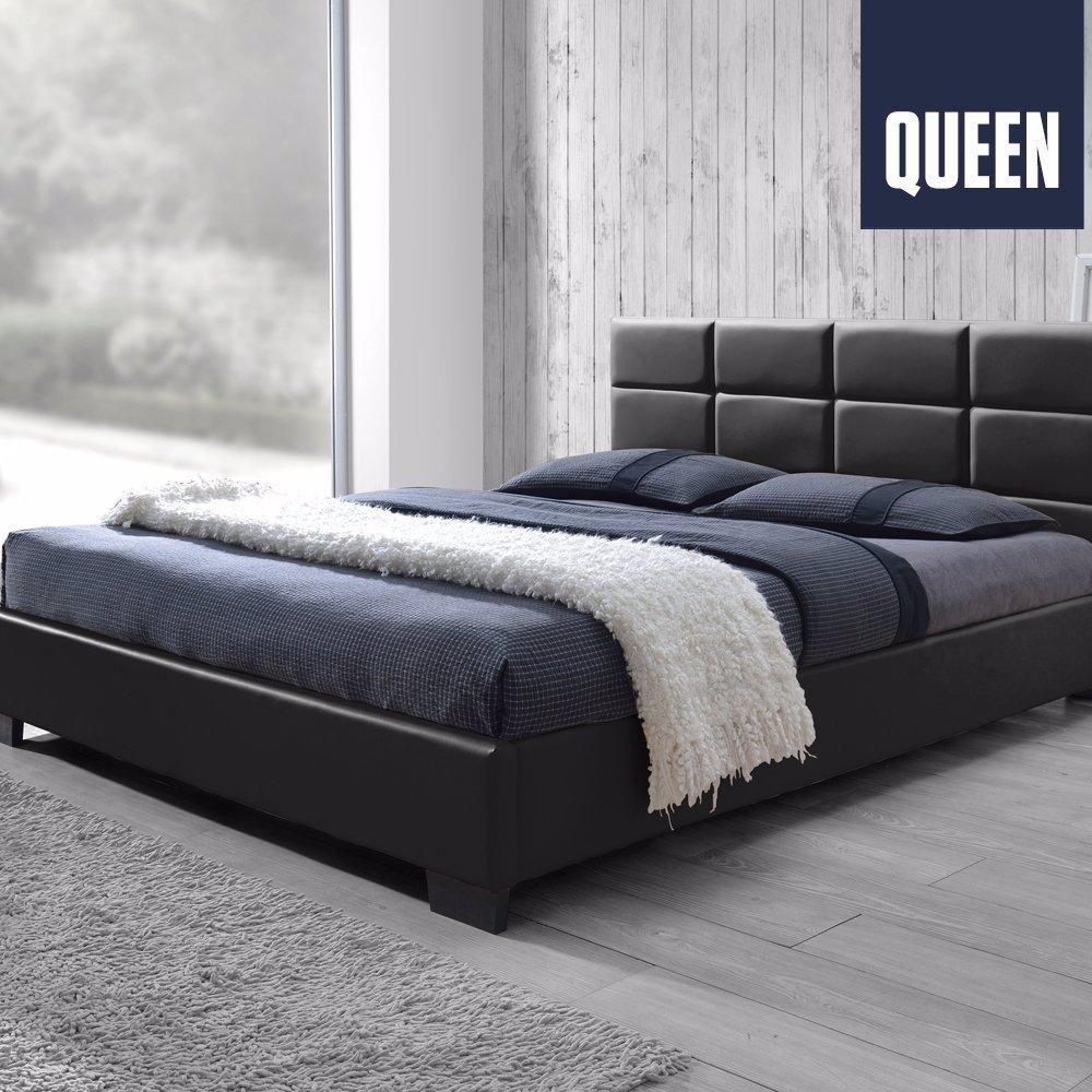 Dealsdirect Pu Leather Queen Size Wooden Bed Frame Matt Black