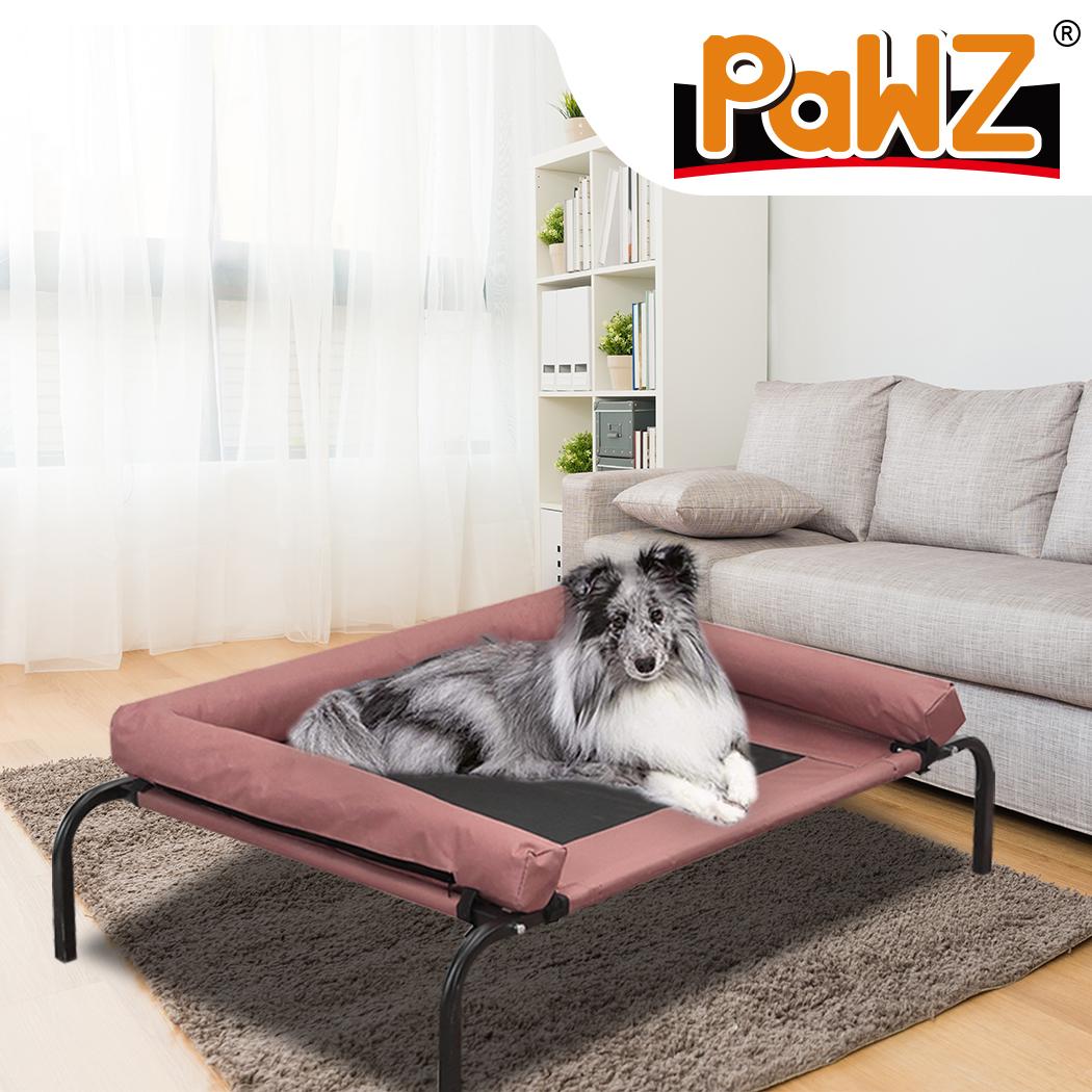PaWz Pet Bed Heavy Duty Frame Hammock Bolster Trampoline Dog Puppy Mesh L Coffee