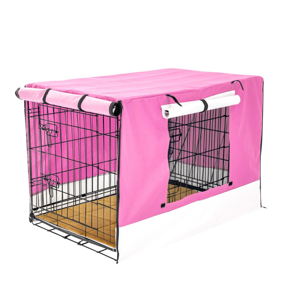 """Wire Dog Cage Crate 42"""" with Tray + Cushion Mat + PINK Cover Combo"""