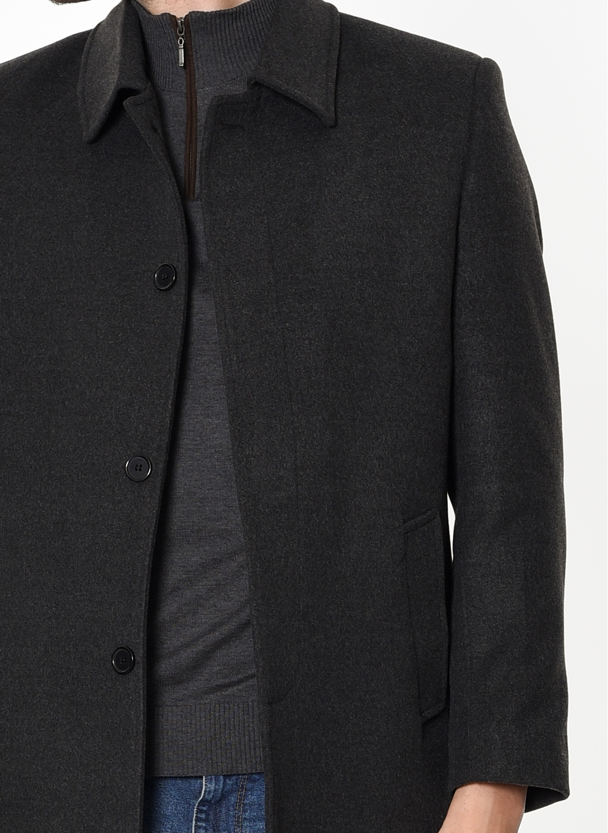 DFBB Mens Winter 2 Button All Embroidery Turn Down Collar Slim Fit Wool Outerwear Coats