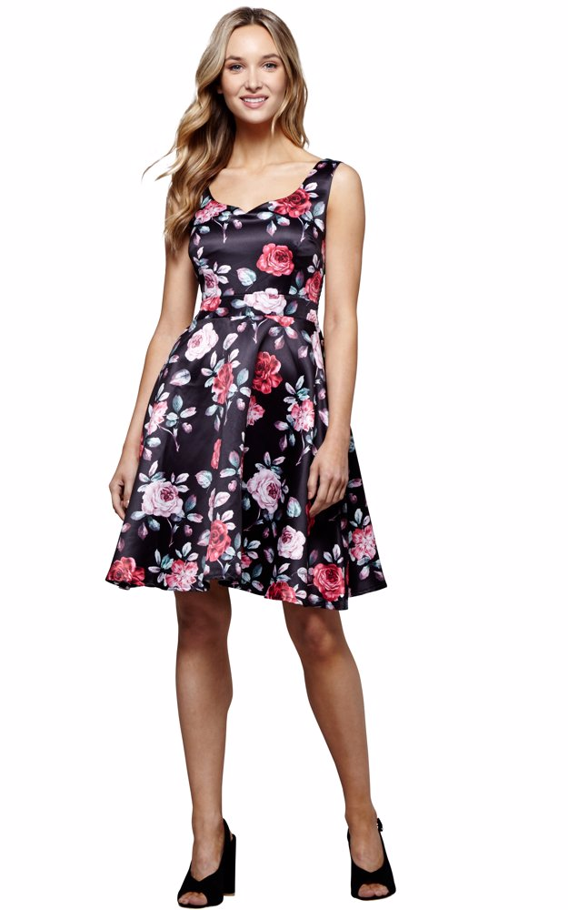 9e5100686bb8 DealsDirect | DISABLE Rose Print Prom Dress