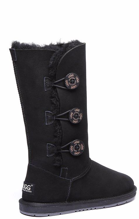 9ad60f9c264 UGG Boots Australia Premium Double Face Sheepskin Tall Triple button Water  Resistant #15902 Black AU