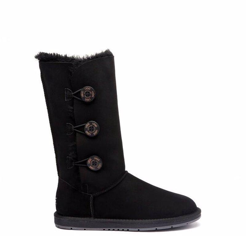 7e7892c21f0 UGG Boots Australia Premium Double Face Sheepskin Tall Triple button Water  Resistant #15902 Black AU