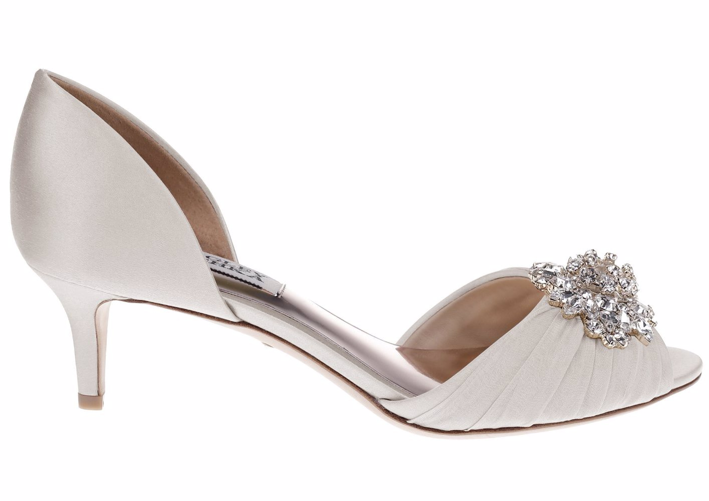 0299a994d9 NZSALE | Badgley Mischka Sabine Satin Low Heel Peep Toe Ivory