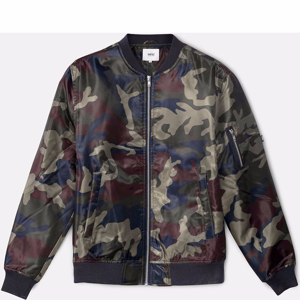 eb926b88a98a7 OZSALE | WeSC Mens The Camo Bomber Woven Jacket Red Port