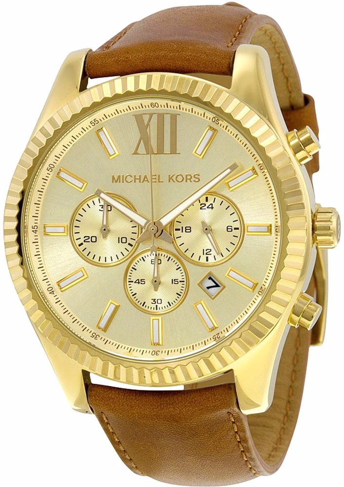 1418ff6b9c84 Preview with Zoom. Michael Kors. Lexington Gold Dial Leather Strap Watch