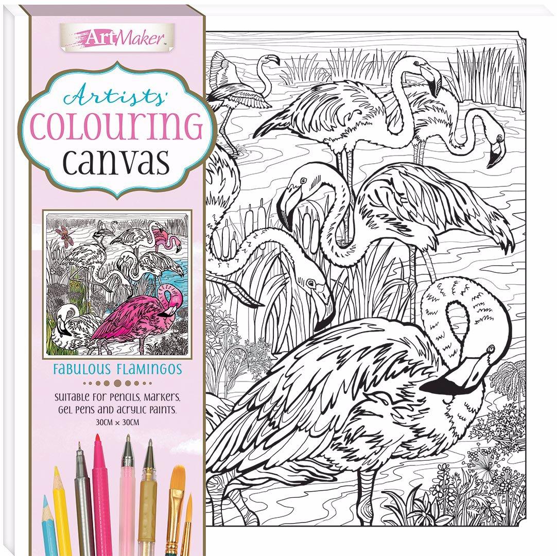 Artists' Colouring Canvas: Fabulous Flamingos