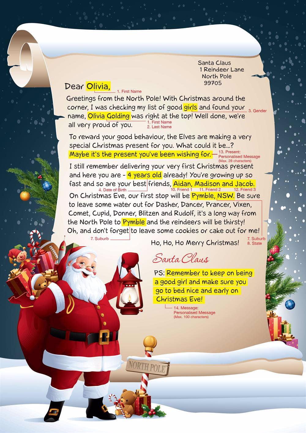 Identitydirect Personalised Christmas Letter Letter From Santa