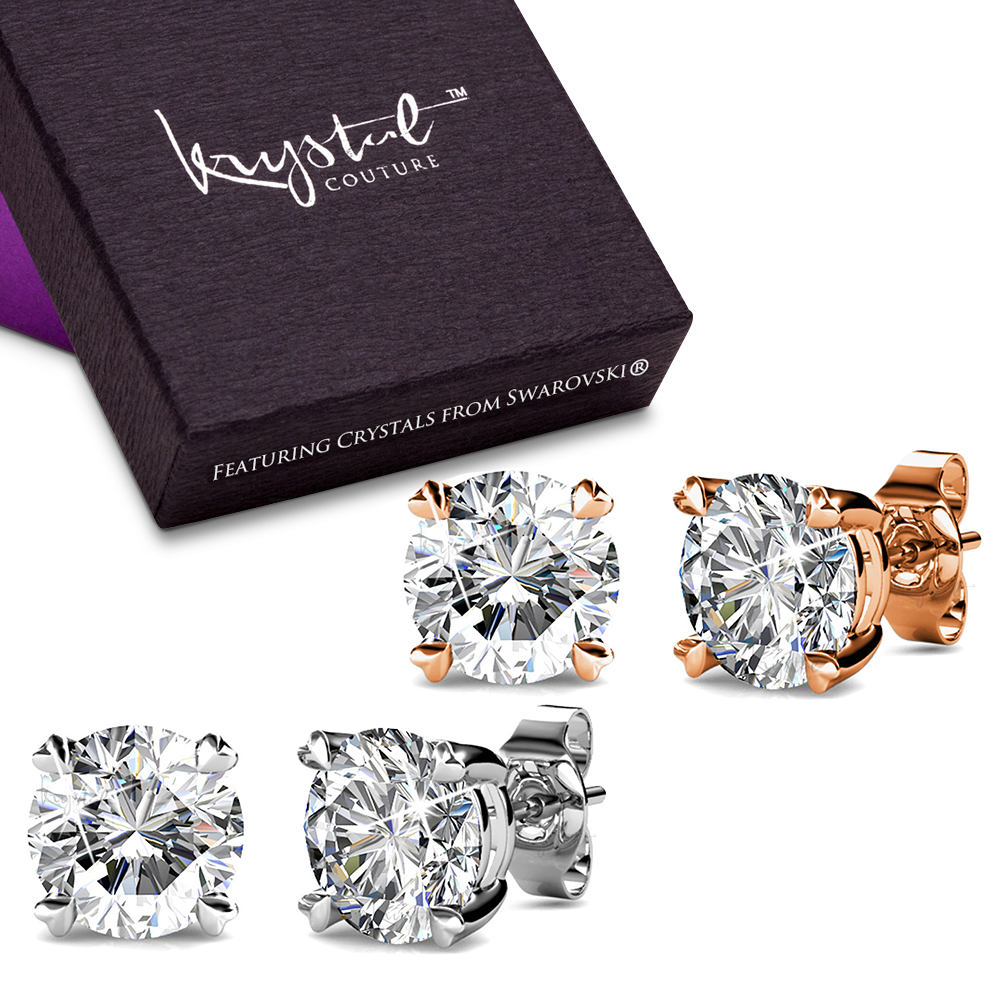 Boxed 2 Pairs Solitaire Studs Earrings Set wSwarovski® Crystals