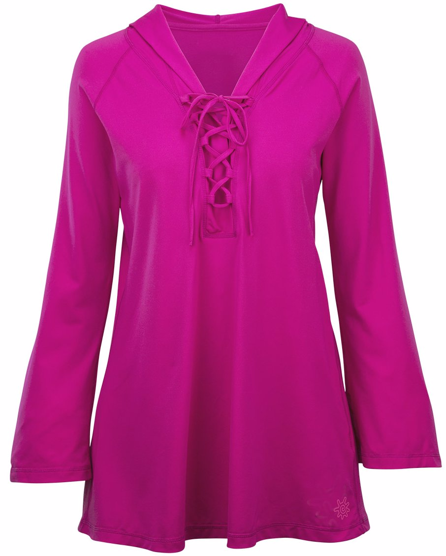 b34586f1ad NZSALE | UV Skinz Womens Hooded Beach Cover Up - Hot Pink