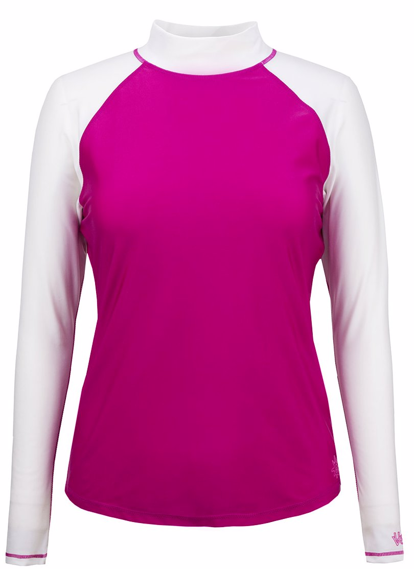 5cf8f1c8a7 OZSALE | UV Skinz Womens Long Sleeve Sun & Swim Shirt - Hot Pink White