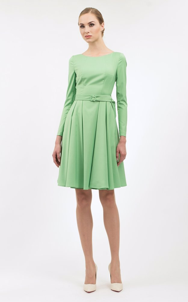 55f18b3222 Preview with Zoom. BGL. Long Sleeve Skater Dress Light Green