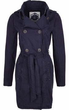 Cotton Double-Breasted Belted Long Jacket Marine