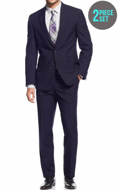 c8fe89bcf0339 BuyInvite | Ultimate 2 Piece Set Modern Uomo Mens Classic Fit Suit Navy