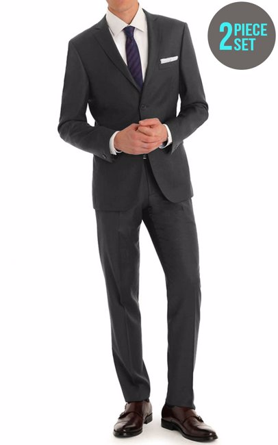 5b6b34add55a86 BuyInvite | Braveman 2 Piece Mens Slim Fit Suit Charcoal