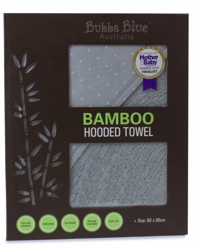 GREY Bamboo Hooded Towel-White