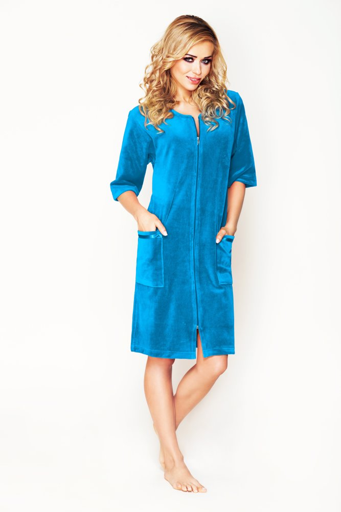 Preview with Zoom. Luxury Cotton Bathrobes. Velour Robe Turquoise Blue 5675ed5ac