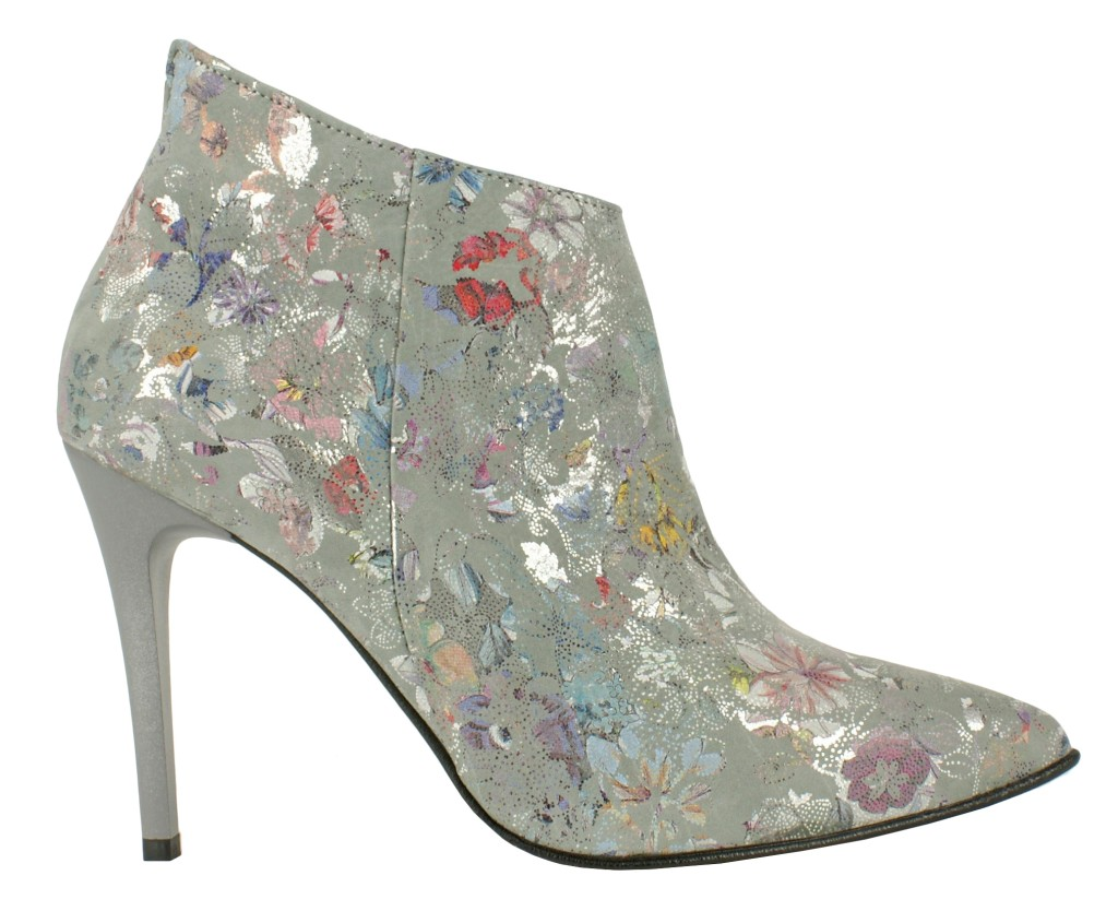 Women's Boots in Flowers On Grey