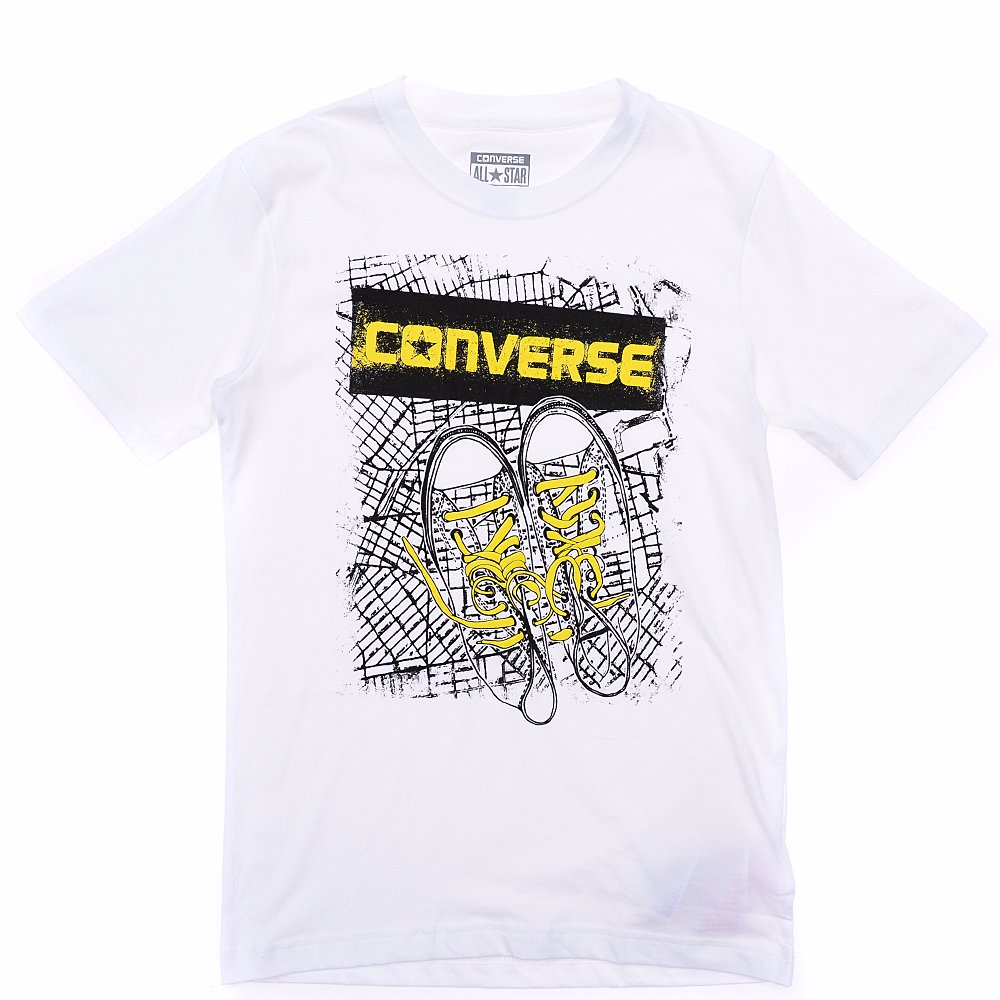 3bc4ada4e BuyInvite | Converse Cotton BK Map Short Sleeve T-Shirt White