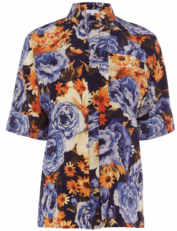 52340828941a66 SINGSALE | Warehouse Peony Floral Silk Shirt