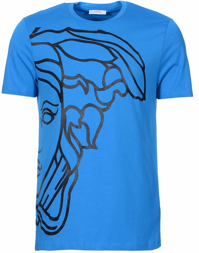 e28c86a80 Preview with Zoom. Versace Collection. Medusa Large Logo Side Print T-Shirt  Blue