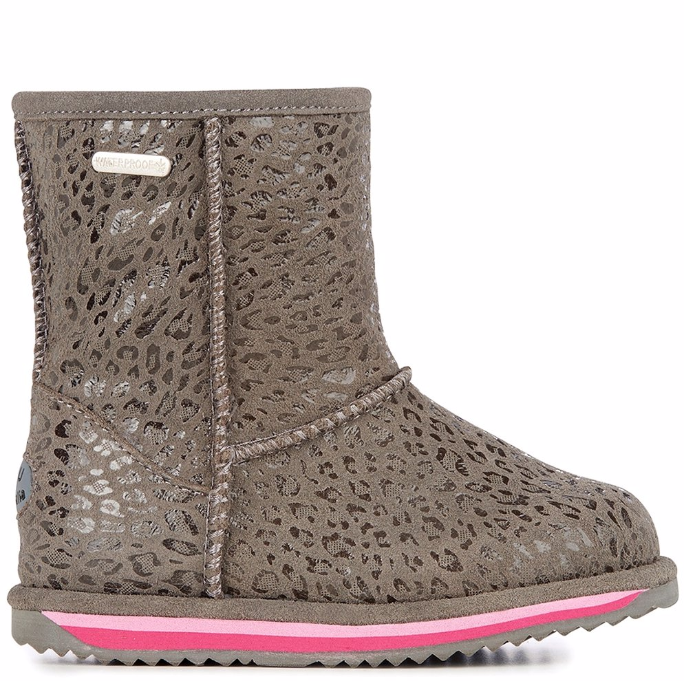 8bc4a6e551c Kids Suede Leopard Brumby Charcoal Boot
