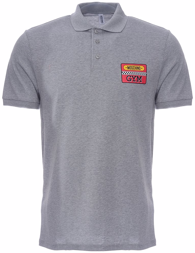 outlet store 1e280 c0591 Racing Moschino Gym Logo Cotton Polo Shirt Grey