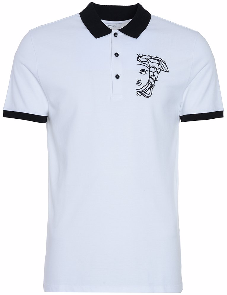 b788c4be OZSALE | Versace Collection Medusa Logo Contrast Collar Polo White