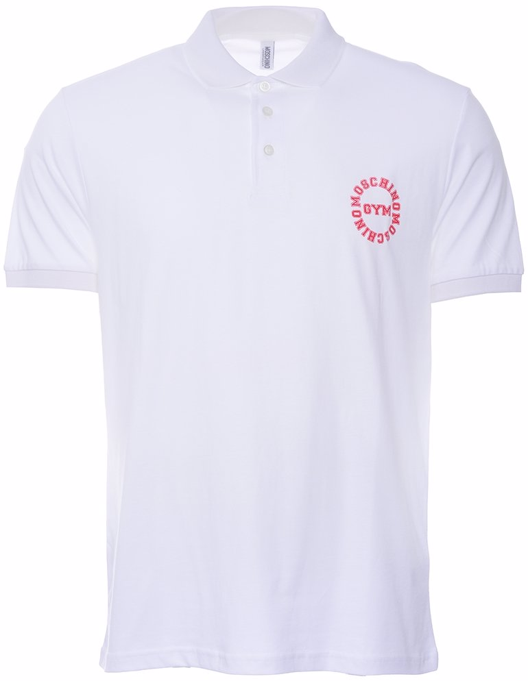 release date bbb0f 5d942 Circle Moschino Gym Logo Cotton Polo Shirt White