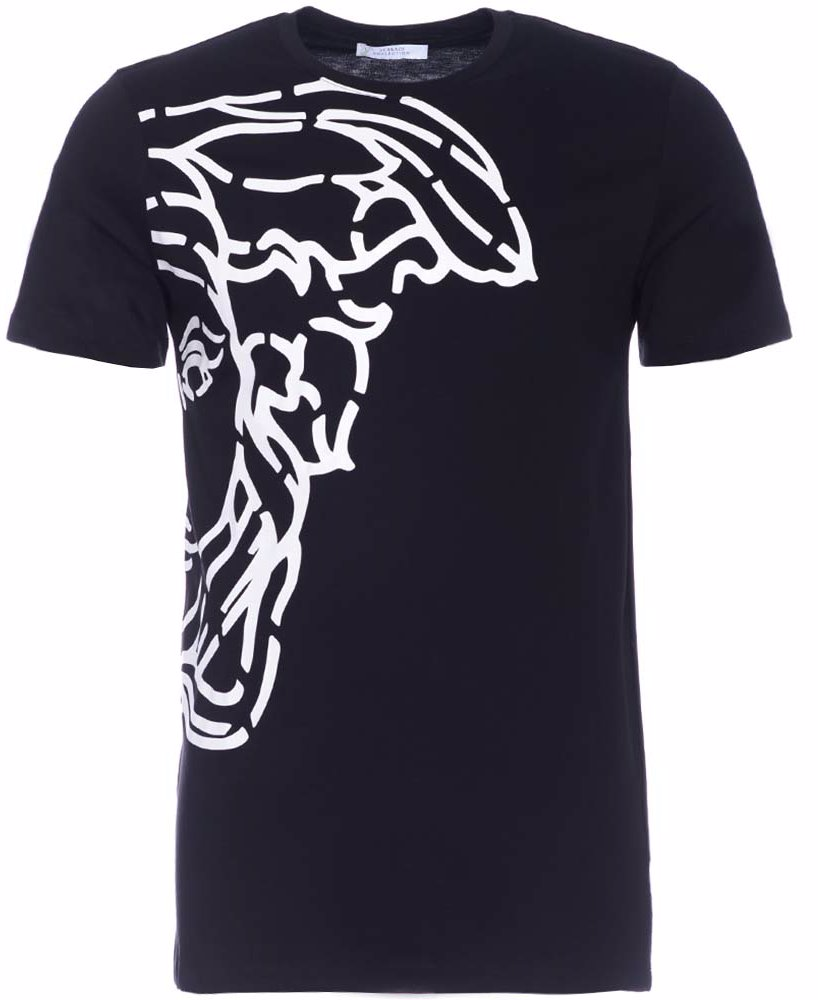 www.singsale.com.sg — Versace Collection Medusa Large Logo Broken Side Print  T-Shirt Black b897924fc0c