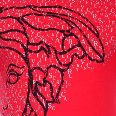 www.singsale.com.sg — Versace Collection Medusa Large Logo Letter Side Print  T-Shirt Red 74e3cc9dd09