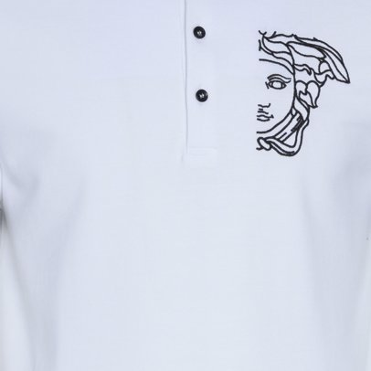 MYSALE   Versace Collection Medusa Logo Contrast Collar Polo White f019774bf55
