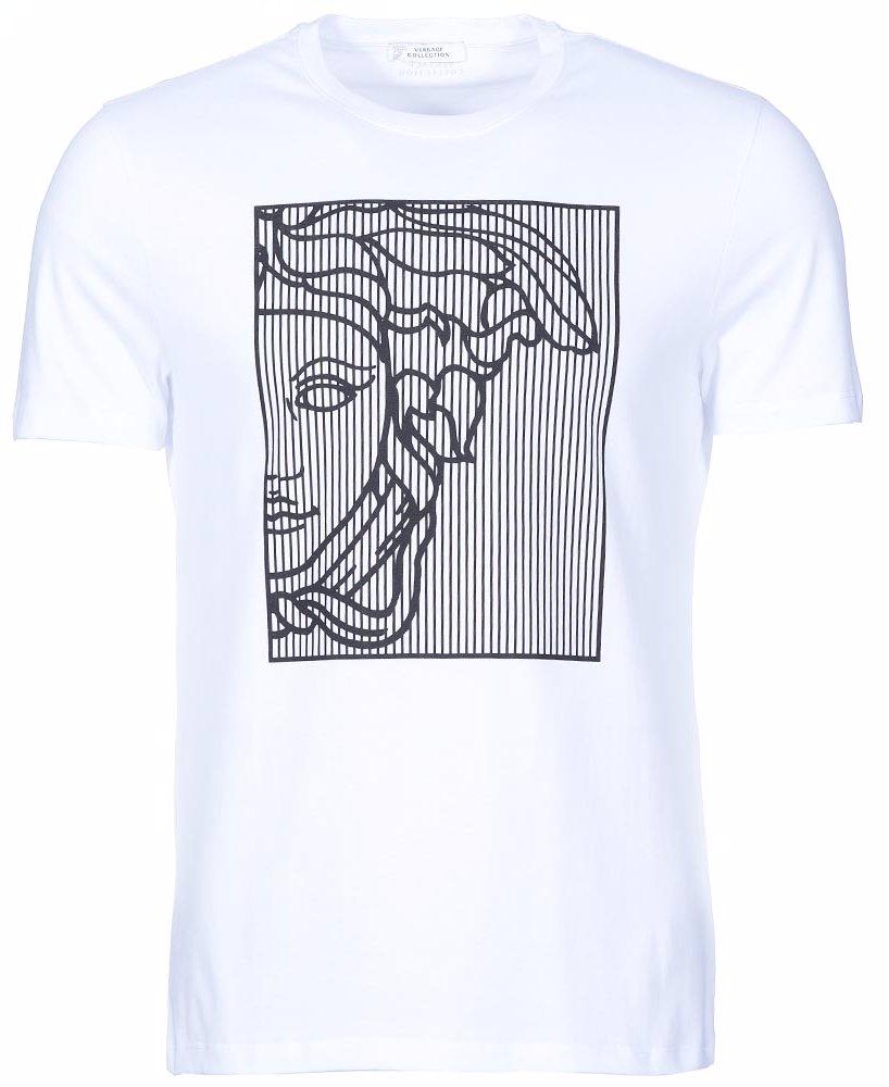 562b3398 OZSALE | Versace Collection Medusa Logo Stripe Panel T-Shirt White