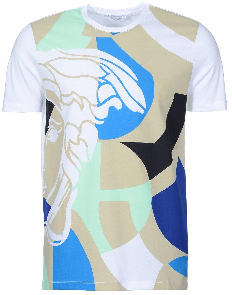4f90f0cd SINGSALE | Versace Collection Medusa Logo Multi Panel Print T-Shirt ...