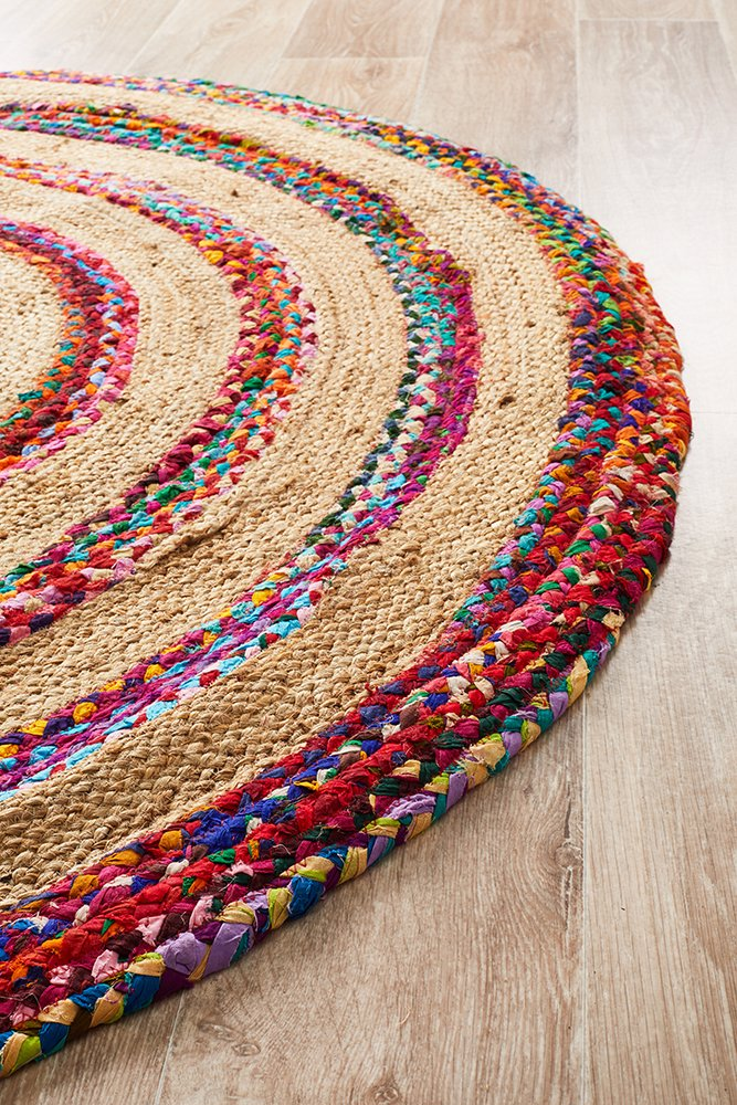 Spiral Braid Cotton Jute Round Rug