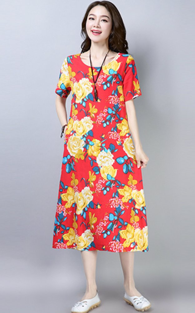 616ae95fe1f80 Short Sleeve Linen Printed Relaxed Midi Dress Floral