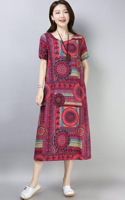 51c64720b8 BuyInvite   Dress in Linen Short Sleeve Linen Printed Relaxed Midi ...