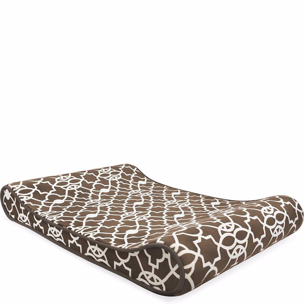 Memory Foam O Lattice.Contoured Memory Foam Bolster Lounger Pet Bed Mat Lattice Mocha Brown