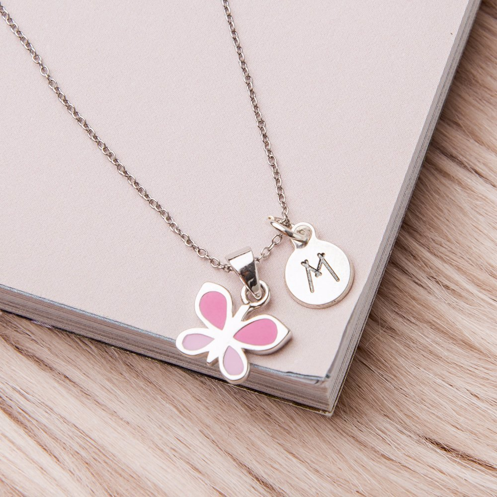 7b91c23e1fa92 Pink Butterfly Necklace for Kids with Initial Charm