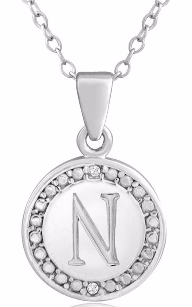 N Initial Diamond Necklace In Sterling Silver, 18 Inches