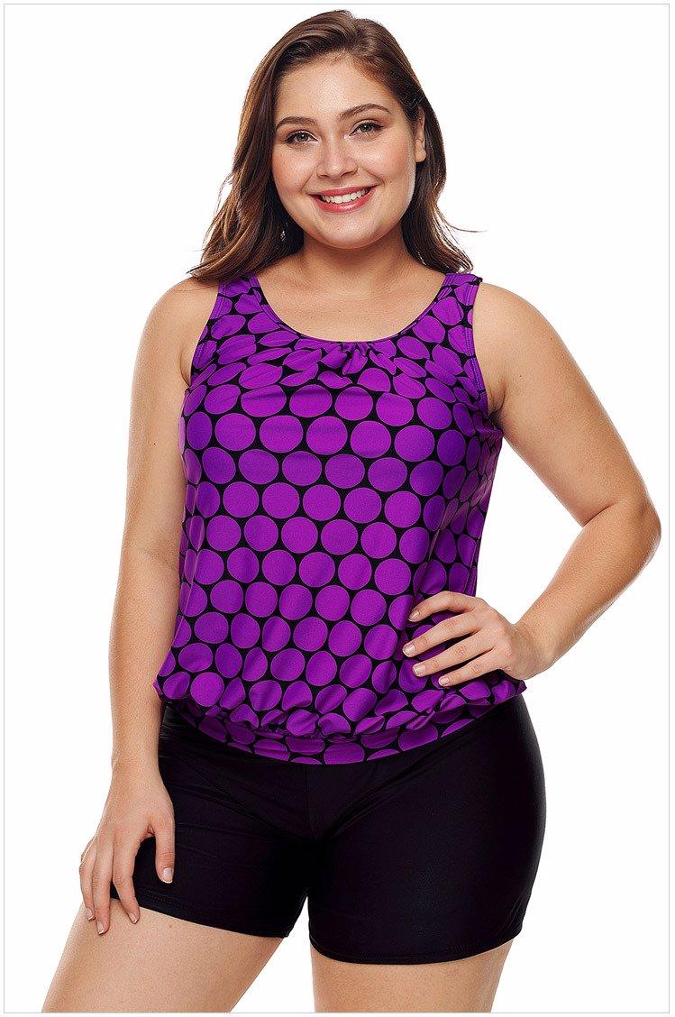 370c500549eaf SINGSALE | Plus Size Swimwear Purple Two Piece Set
