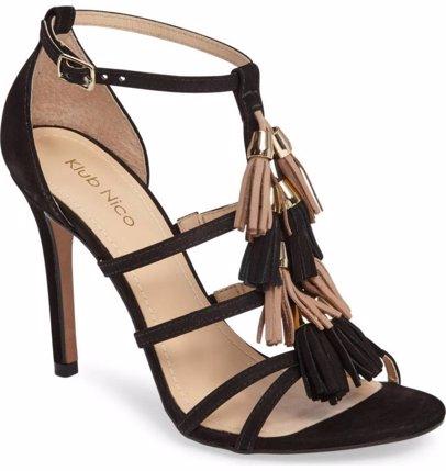 578ebf9bfd1 Myra Multi Tassel Suede Single Sole Stiletto Heel Sandal Black
