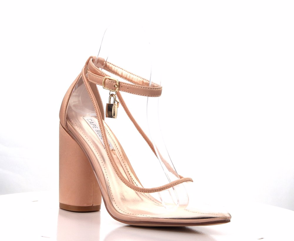 668925f3a2f Preview with Zoom. Cape Robbin. Rizzo-1 Rose Gold Satin Pointed Lucite Clear  Block Heel ...
