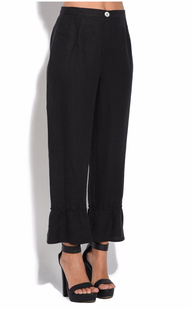 b52a62142ed Preview with Zoom. Eva Tralala. Linen Trousers Black