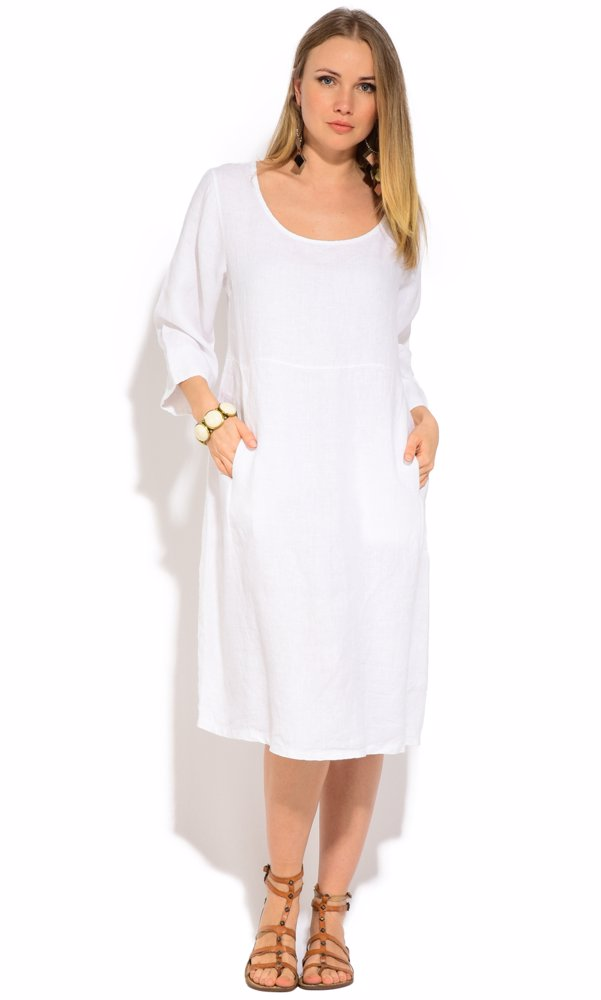 www.nzsale.co.nz — Couleur Lin Linen Myrtille Dress White