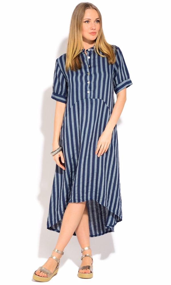 Linen Iris Dress Blue