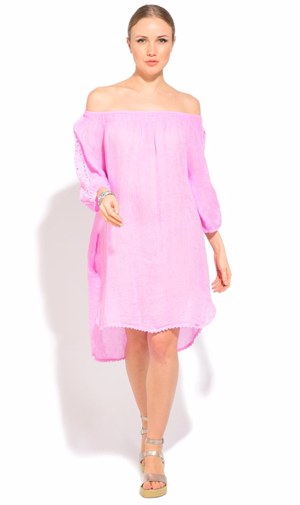 www.nzsale.co.nz — Couleur Lin Linen Lavinia Dress Pink